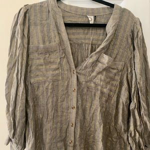 Gold striped button down blouse never worn